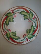"Fitz And Floyd 2004 Noel Classique Christmas Holly Ribbons Medium Bowl11"" Euc"