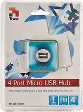 TRUST 16127 4 PORTE HUB USB 2.0, MICRO blu con fodera rimovibile 1,2 m cavo di connessione