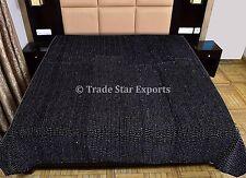 Velvet Twin Kantha Quilt Handmade Reversible Bedspread Bohemian Bedding Throw