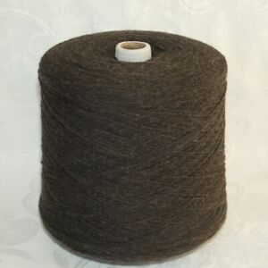 UPW Extrafine Merino Wool Yarn Cone Two Ply Brown Tweed Approx 2 lbs 900 grams