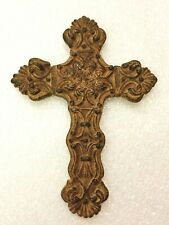 "INTERCONTINENTAL ART Cross, 7"" Faux Iron Stone Goth Art Decor Celtic Wall Hung"