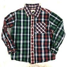 Peek Boys Medium 6-7 Plaid Print Patchwork Long Sleeve Button Front Shirt