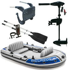 SET INTEX Excursion 4 Schlauchboot Angelboot + Aussenbordmotor + Heckspiegel