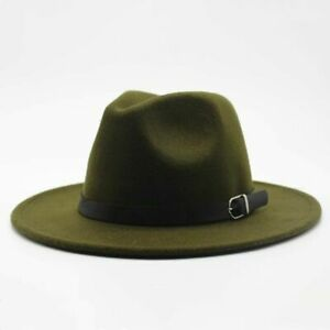 Fedora Hat Wide Brim Women Men Round Caps Winter Autumn Woolen Imitation SunHats