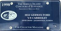 .RARE !! 1998 THE AMELIA ISLAND CONCOURS d'ELEGANCE COLLECTORS LICENSE PLATE.