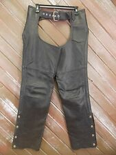 Chaps First Genuine Leather Motorcycle Biker Chaps Black Size XS