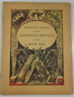 1962 Old Vintage OS Ordnance Survey Map of Southern Britain In The Iron Age