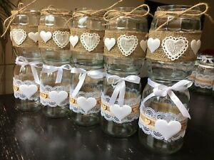 10x Rustic Wedding Jars Table Centrepiece Candle Holder Vase Decor Handmade