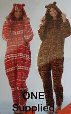 NEW 1x Sz M-XL One piece Tiger OR Fair isle Snowflake Zip Hood Fleece Suit Pj