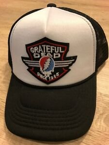 GRATEFUL DEAD Trucker Hat Embroidered Patch 1965 Cap Music Rock Mesh Black Retro