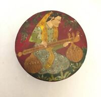 Vintage Indian Hand Painted Musician And Dears Lidded Box