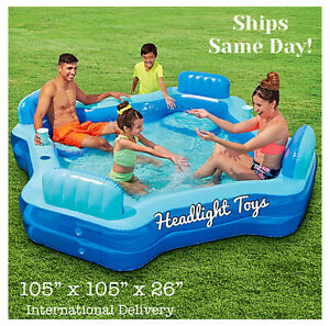 Play Day Deluxe Comfort Family Inflatable Swimming Pool Lounge Swim Center Seats