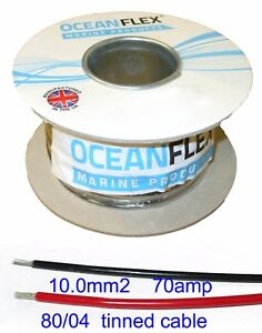 TINNED Thin wall cable 10.0mm², (7AWG) Auto, Marine, Low Voltage,     CM10.0