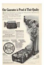 VINTAGE 1909 INDESTRUCTO TRUNKS TRAVEL STAGECOACH WOMAN PURSES VENEER AD PRINT