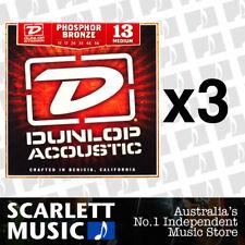 3x Jim Dunlop Acoustic Guitar String Set Medium 13-56 Phosphor Bronze Strings