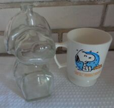 Vintage glass SNOOPY bank & Snoopy cup French Toast some wearing on words