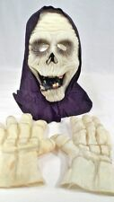 Scary Glow in the Dark Halloween Grim Reaper Mask & Rubber Skeleton Hands Gloves