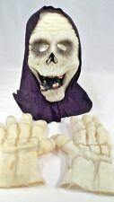 Scary Glow in the Dark Halloween Grim Reaper Mask & Rubber Skeleton Hands Gloves