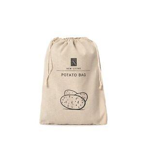 Potato Storage Bag, 38*27cm, Natural Linen Cotton, Eco-Product, Fast UK Delivery