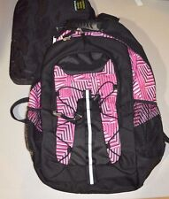 "Teen Kids 2 PC Backpack Canvas Mesh Black Pink Travel Bag w/ Laptop Pad 20""h #41"