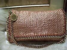 Authentic Stella Mccartney Falabella Metallic Rose Gold Chain Clutch Bag $1350