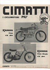 Pubblicità 1970 MOTO MOTOR CIMATTI KAIMAN advertising werbung reklame publicitè