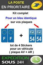 4 STICKERS LOGO REGION + F PLAQUE IMMATRICULATION DEPARTEMENT 54 GRAND EST