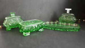 Art Déco Frisiertisch-Garnitur Toiletten-Set * Kristall handschliff grün VINTAGE