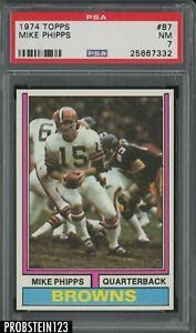 1974 Topps Football #87 Mike Phipps Cleveland Browns PSA 7 NM
