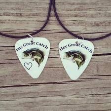 His Her Great Catch bass fish hook heart Guitar pick country girl necklaces camo