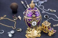 "Royal Imperial Purple Faberge Egg: Extra Large 6.6"" with Faberge carriage"