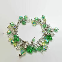 Silver Tone Wire Wrapped Green & Clear Crystal Glass Bead Bracelet