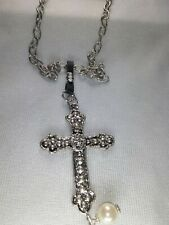 Silver Tone Cross Pendant Necklace - New