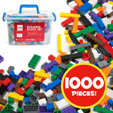 Deluxe 1000-Piece Building Blocks Set w/ Carrying Case, 14 Shapes, 10 Colors