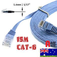 Flat CAT6 / CAT.6 Network 1000Mbps Ethernet Gigabit LAN RJ45 Patch Cable - 15M