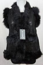 Short Women 100% Shearling Leather Sheepskin Long Haired Toscana Fur Vest Jacket
