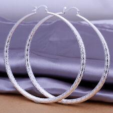 925Sterling Silver Fashion Jewelry Large snake skin Grain Woman Earring E289