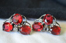 VTG.ANTIQUE RUBY RED RHINESTONE DRESS Shoes CLIPS BUCKLES ART NOUVEAU PERFECT