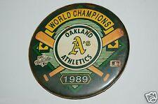 "RARE Aged Vintage 1989 Oakland A's Pin Pinback 3"" Button World Champions MLB"