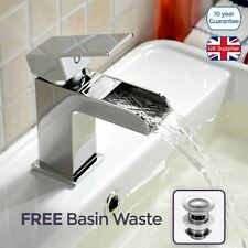 ALPHA SQUARE WATERFALL BASIN MONO MIXER TAP SOLID BRASS CHROME WITH *FREE* WASTE