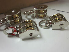 4pc 12 Double Wheel Brass Sheave Die Cast Chrome Pulley Rope Wire Hoist