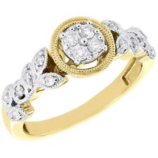 Wedding Ring 14K Yellow Gold Over Halo Women's 1.40 Ct Diamond Leaves Engagement