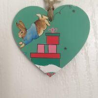 Peter Rabbit Wooden Heart Christmas Tree Decoration, Gift Tag Handmade