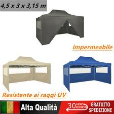 Tenda Pieghevole Pop-Up 4 Pareti Laterali 3x4,5m Blu Tendone Gazebo Impermeabile