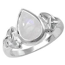 Anillos de joyería con gemas solitario en plata de ley de piedra de luna