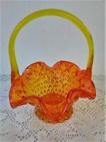 """Vintage 7.75"""" Collectible Amberina Diamond Glass Basket w/Handle/Orange/Yellow"""