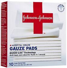 "Johnson & Johnson Hospital Grade Gauze Pads Large 4"" x 4"" 10 count (Pack of 2)"