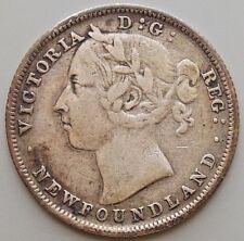 1882 Newfoundland Canada Canadian 20 Cent Silver Coin Queen Victoria
