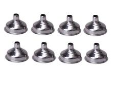 8 x Stainless Steel Metal Funnel Hip Flasks Oils Perfumes Sprays Bottles Cones
