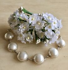 LOVELY NATURAL PEARL PEARLS & 925 STERLING SILVER BRACELET